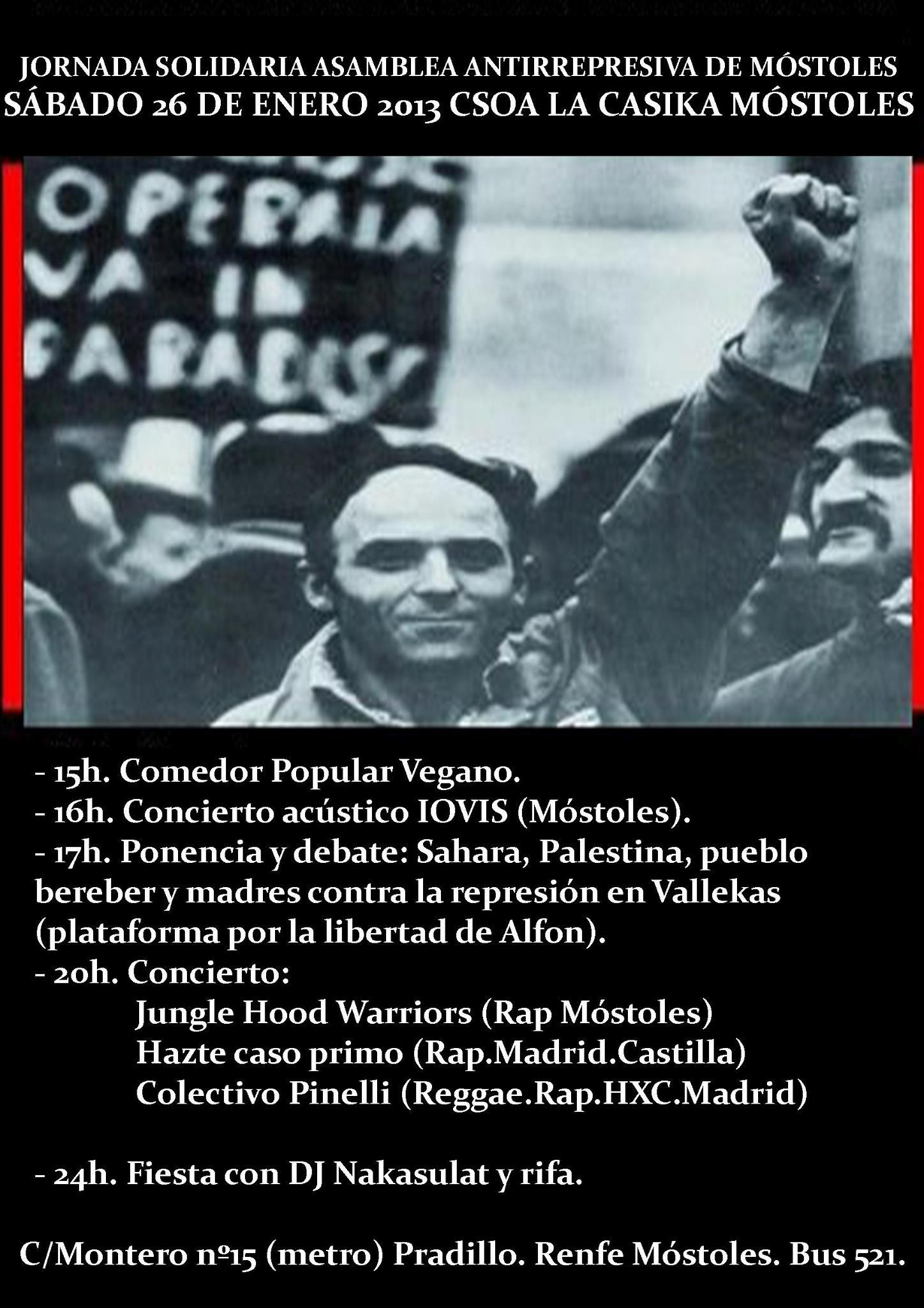 Jornada solidaria asamblea antirrepresiva Móstoles - Sabado 26 de enero en la Casika
