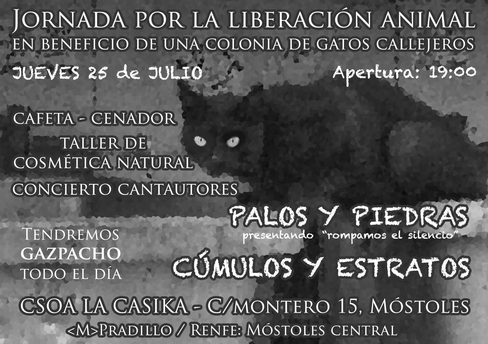 Jornada liberación animal - jueves 25 julio en laCasika Móstoles