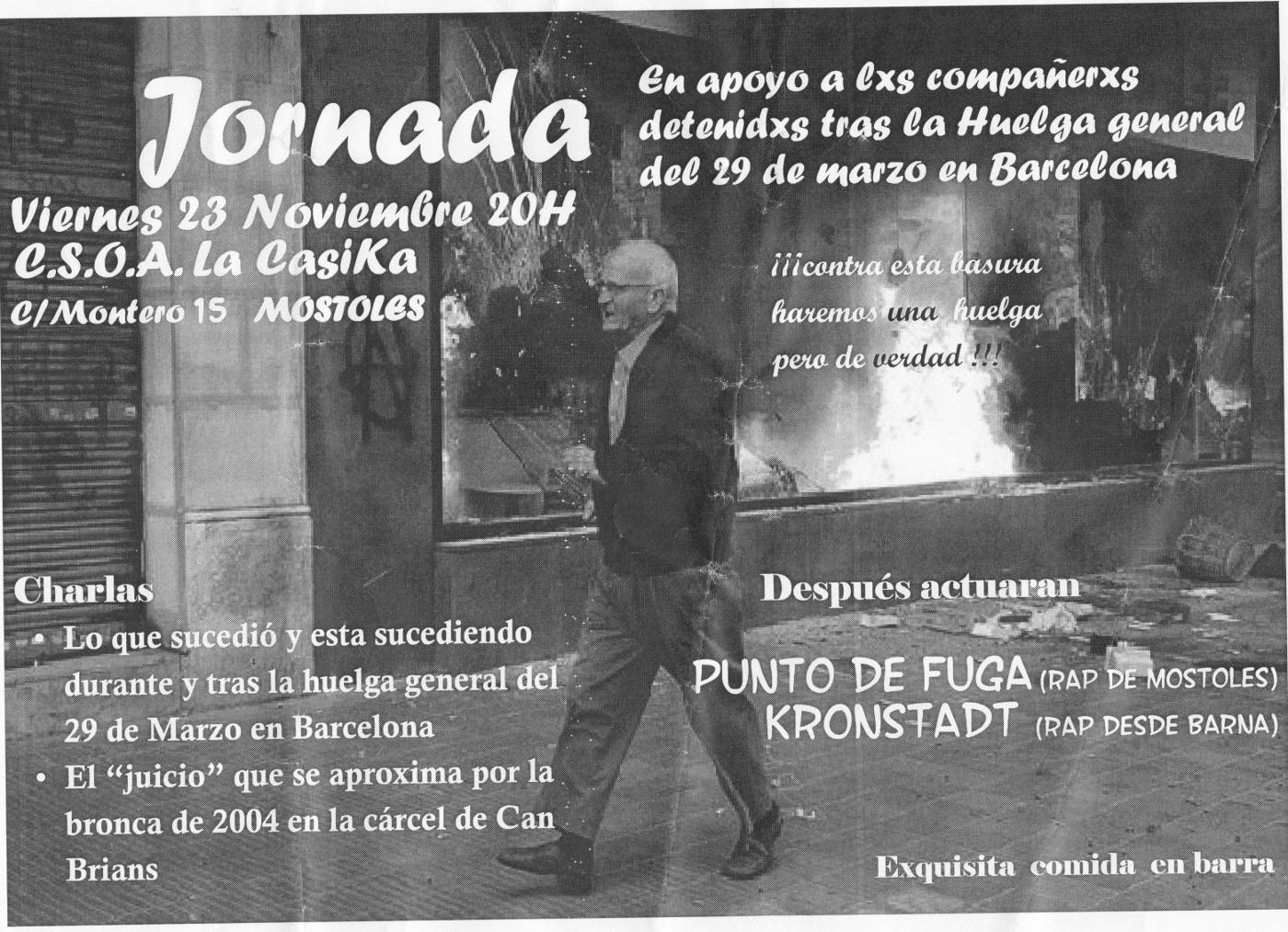 Jornada Charlas + Rap contra las detenciones 29M en Barcelona - Viernes 23 noviembre 2012
