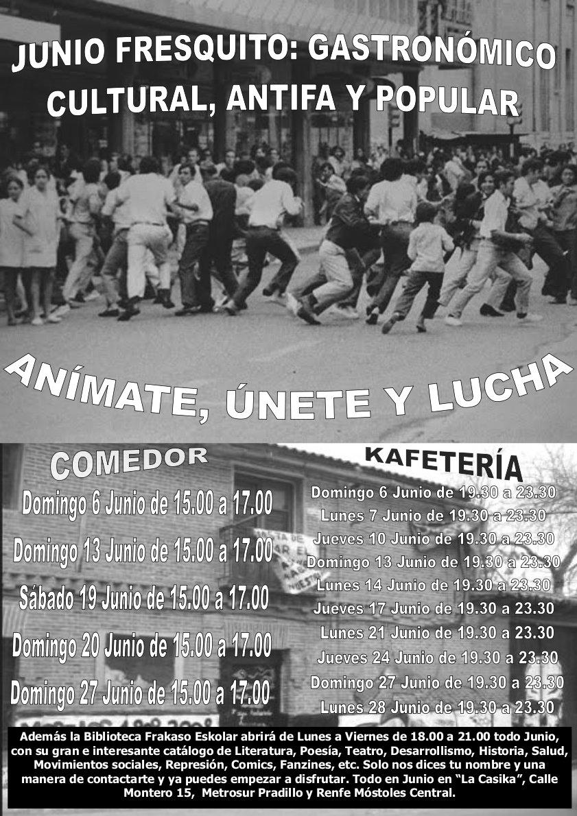 cartel comedor y cafeta en junio en el centro social okupado la casika Móstoles