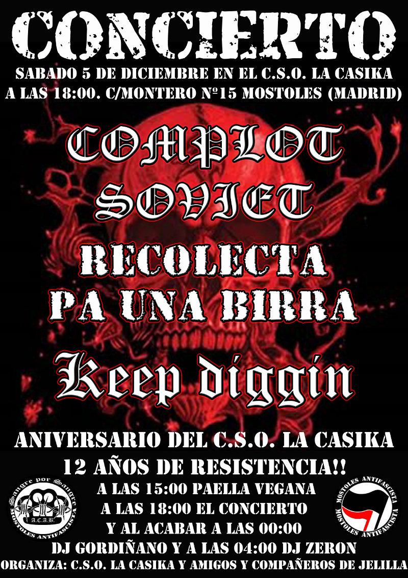 CSOA La CasiKa 12 años de Resistencia - Sabado 5 de Diciembre a partir de las 15h Gran Paellada Popular, Concierto y Fiesta