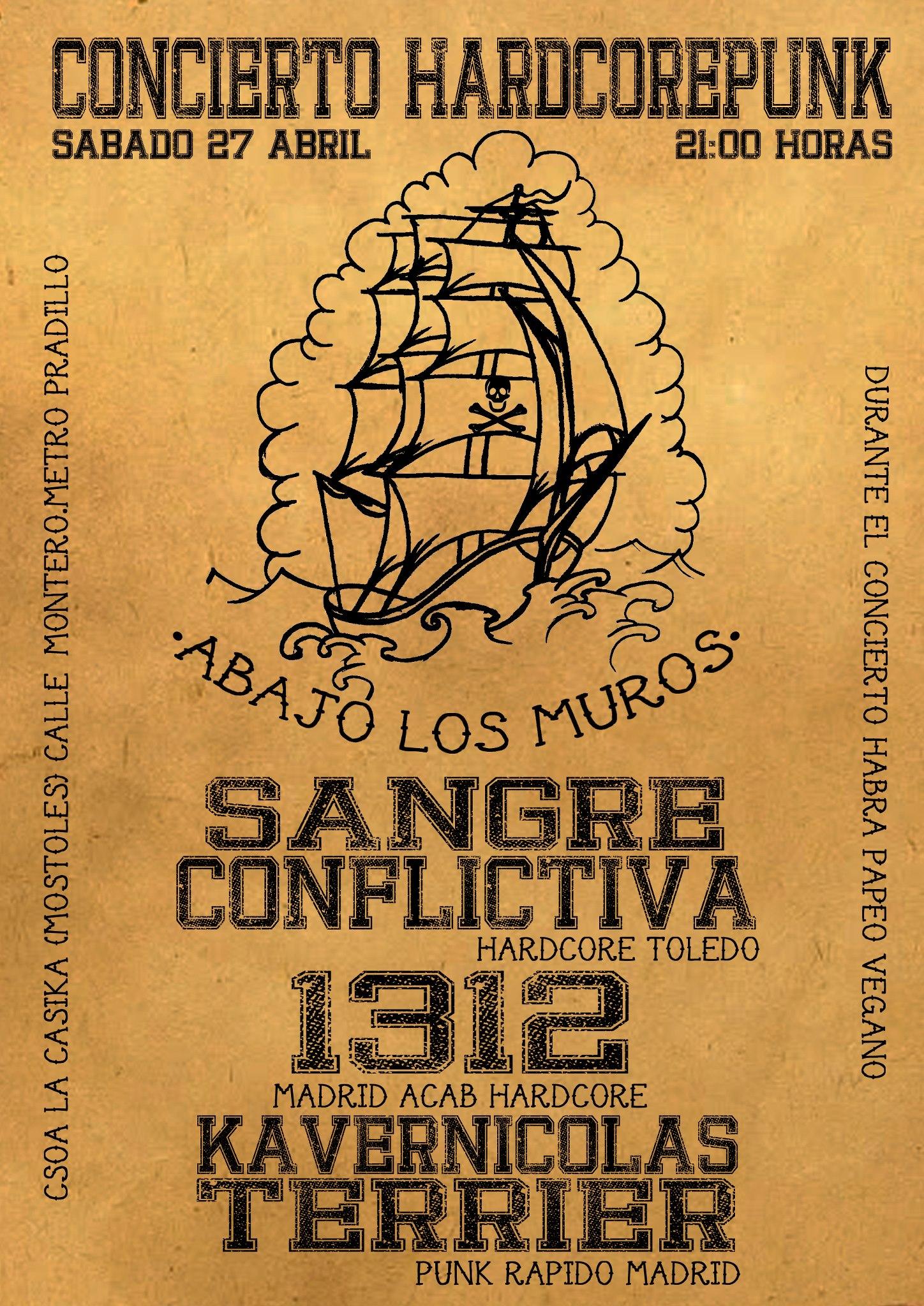 cartel Concierto de las Jornadas contra la Sociedad Cárcel - sabado 27 abril en la Casika Móstoles