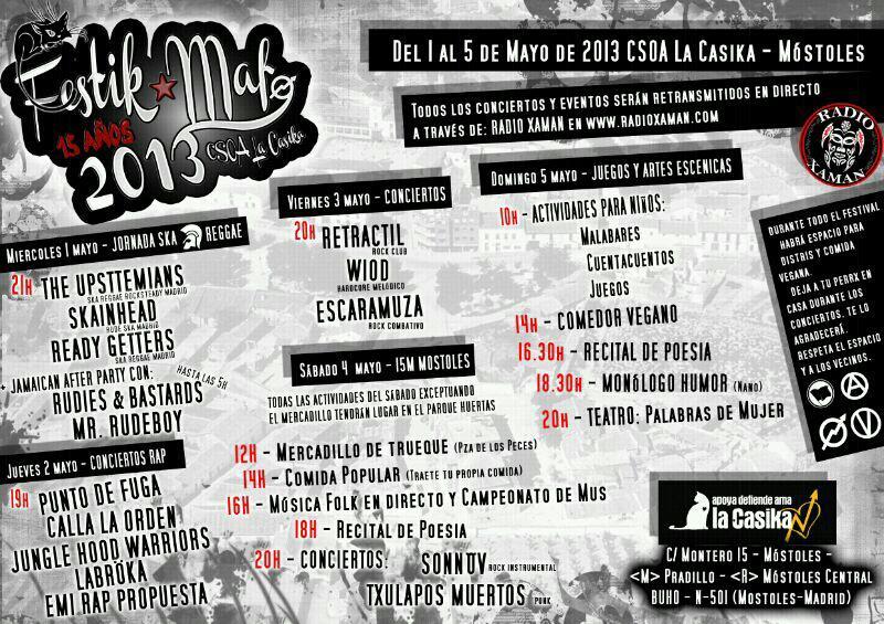 Festikmaf 2013 - festival de cultura popular del 1 al 5 de mayo en La Casika Móstoles