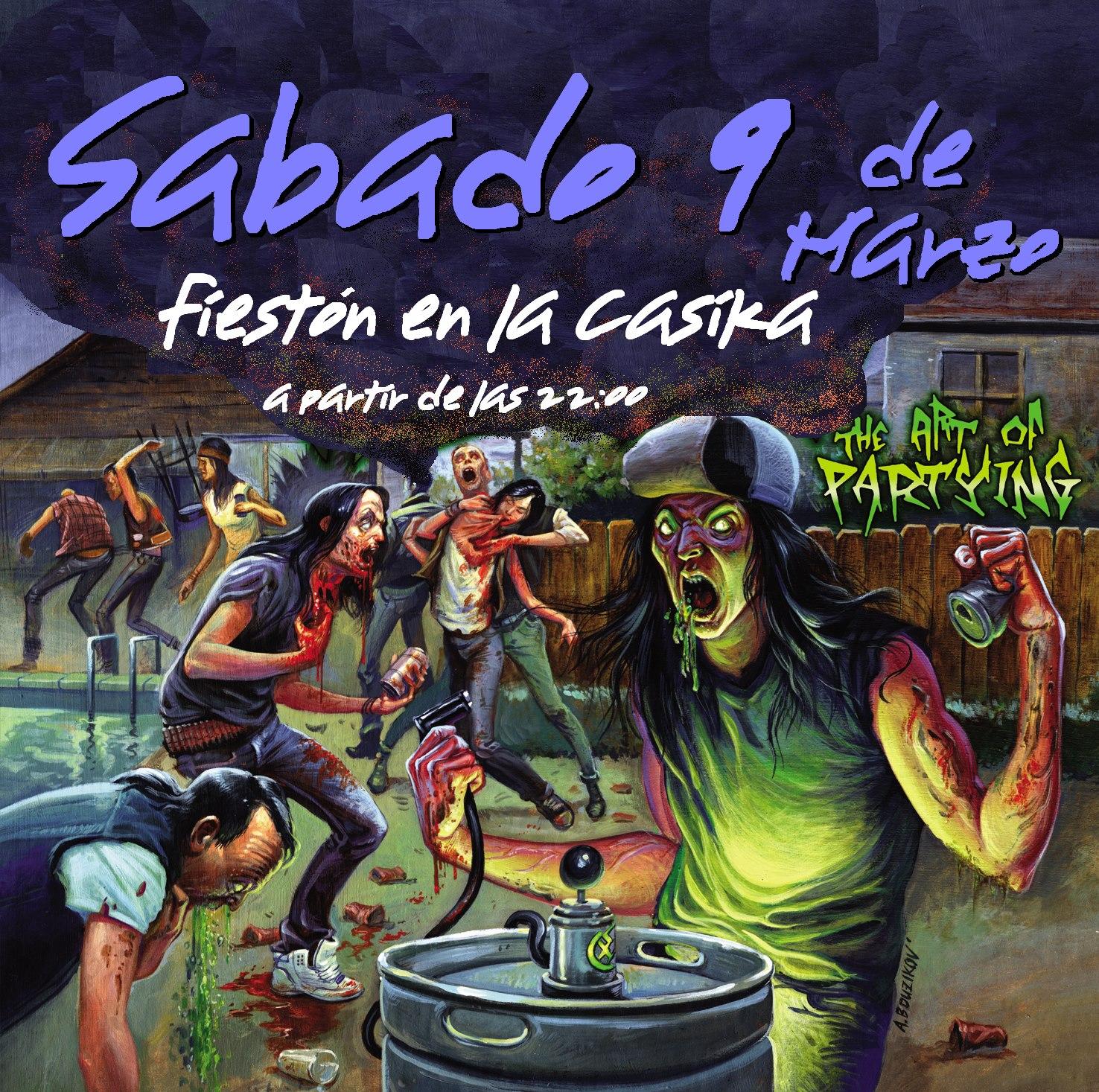cartel Fiesta apoyo gimnasio - sabado 9 marzo la Casika Móstoles