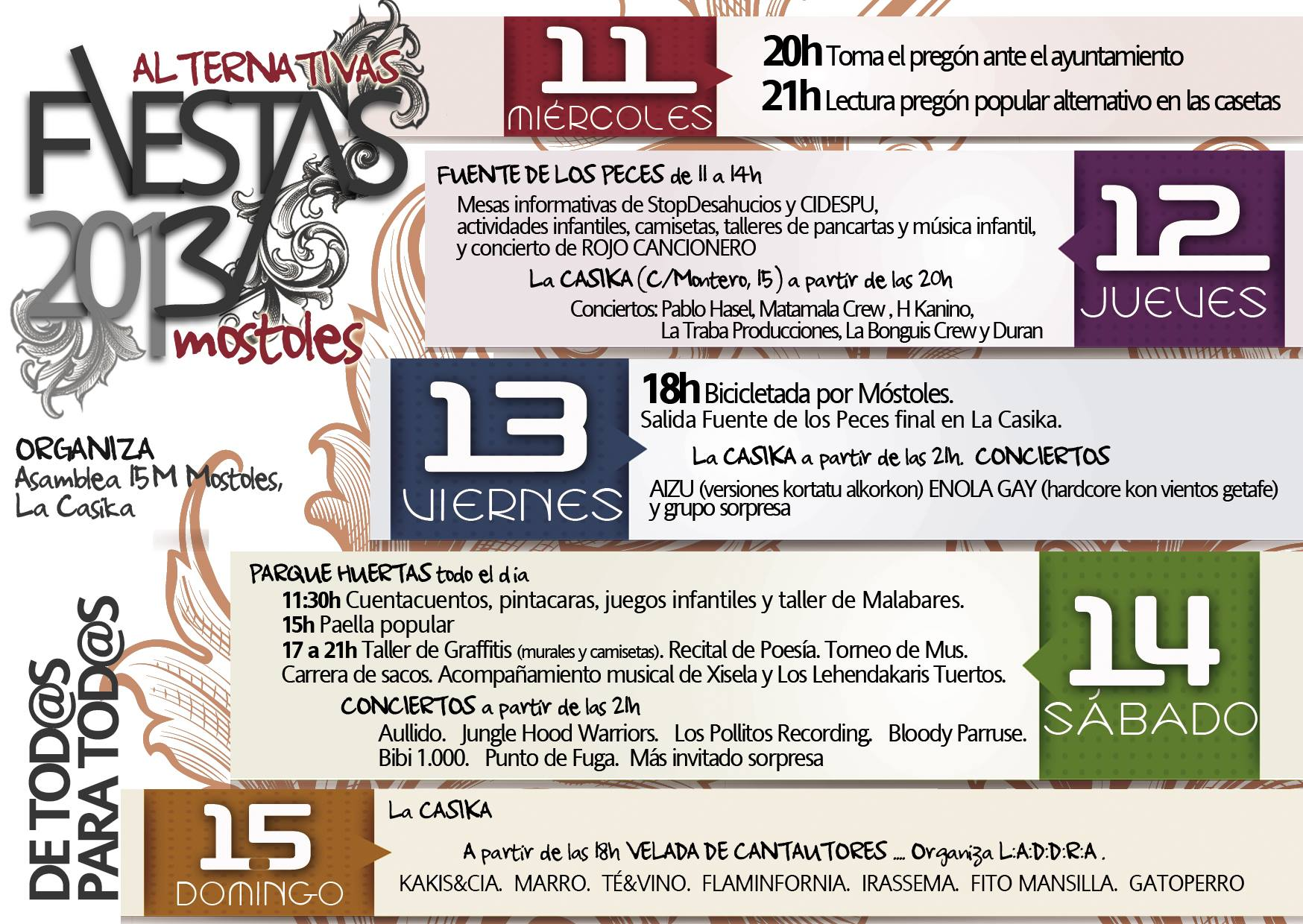 cartel Fiestas alternativas Móstoles septiembre 2013 - del 11 al 15 de septiembre
