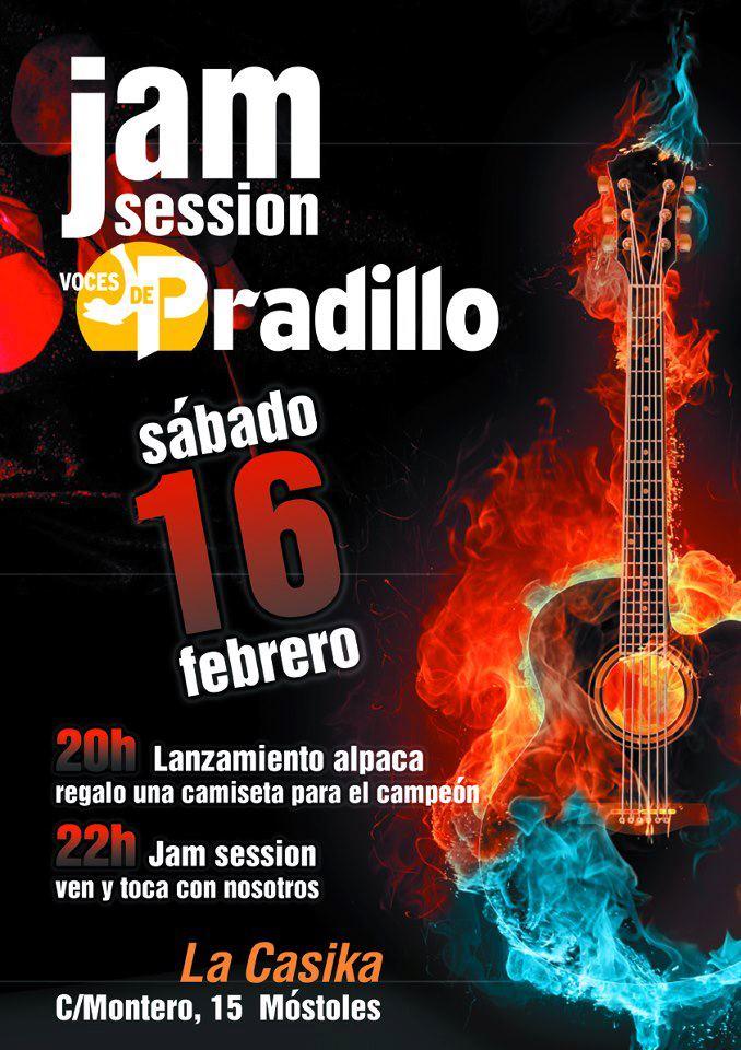 cartel Jam session Voces de Pradillo - Sabado 16 febrero en la Casika Móstoles