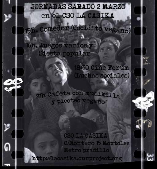 cartel Jornadas - sabado 2 de marzo en La Casika Móstoles