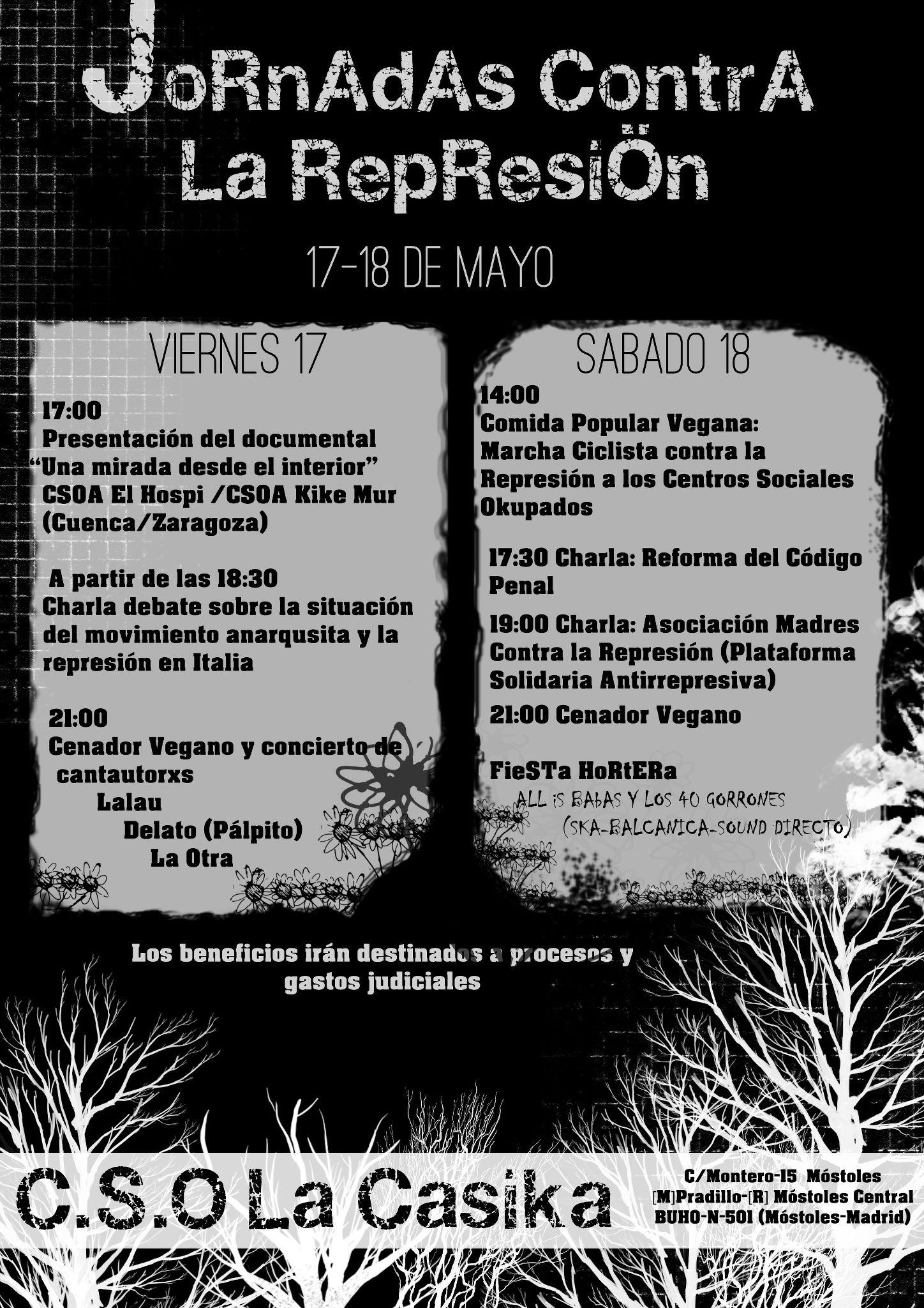 cartel Jornadas contra la Represión - 17 y 18 de Mayo en CSO La Casika Móstoles
