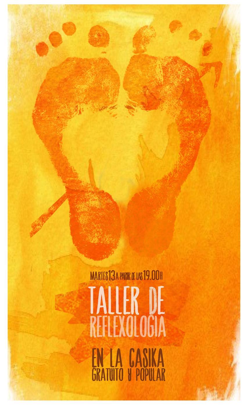 cartel taller reflexologia martes 13 agosto en lacasika Mostoles
