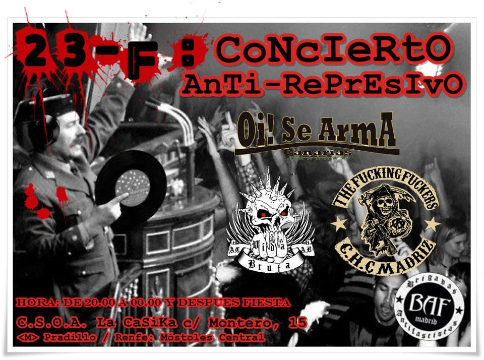 cartel 23F Concierto anti-represivo, Oi! se arma + The Fucking Fuckers + Vida Bruta en la Casika Móstoles
