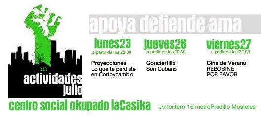 Actividades 23, 26 y 27 de Julio en La Casika