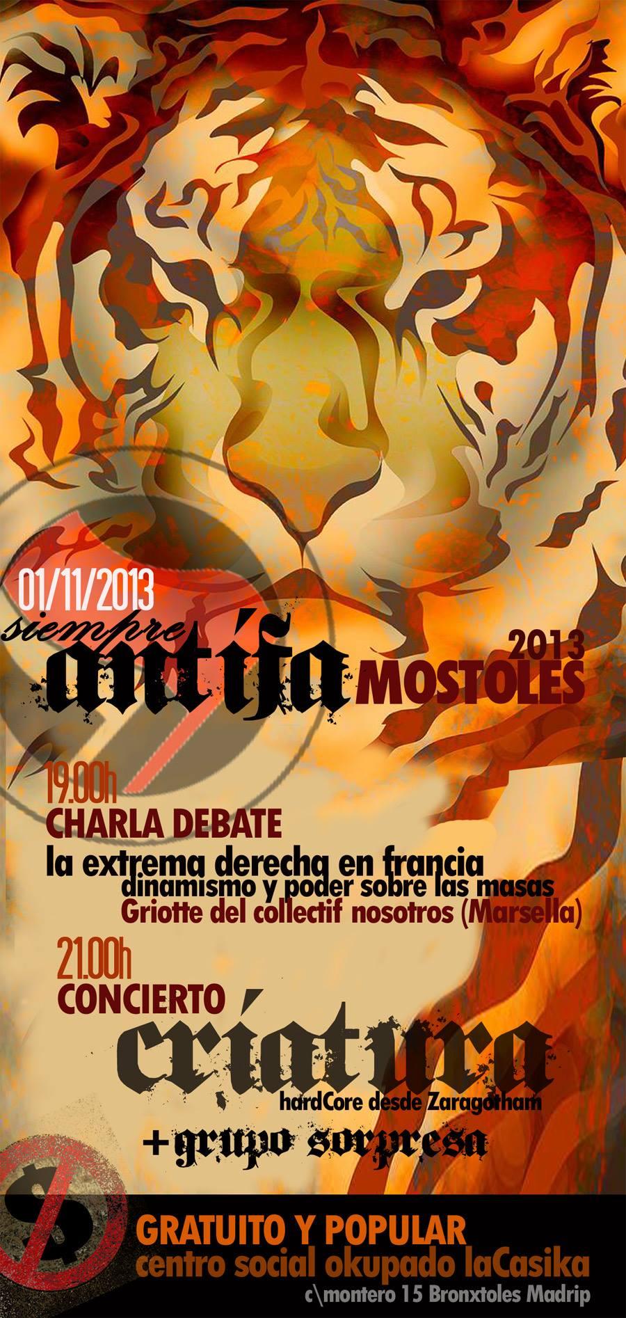 Siempre Antifa Moxtoles 2013 - Charla extrema derecha en Francia y concierto Criatura - viernes 1 noviembre 2013
